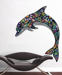 Colorful Floral Dolphin Wall Sticker Ornaments Decal Home Design On Luulla