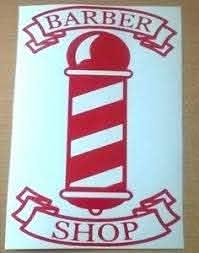 Large 20 Red Barbers Pole Barber Shop Front Window Sign Vinyl Sticker Wall Art Ebay
