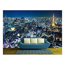 Tokyo Skyline At Night Removable Wall Murals