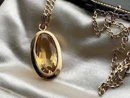 citrine 9ct gold pendant necklace