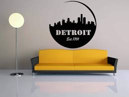 Amazon Com Wall Decals Decor City Skyline Decal Detroit Michigan Vinyl Sticker Mural Wall Art World Decal Panorama Home Bedroom Dorm Decor Room Njs49 Home Kitchen