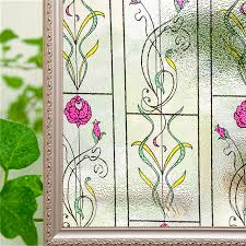 bird flower static cling stained window