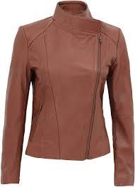 tan leather moto jacket for women
