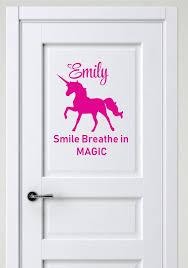 Personalized Name Vinyl Decal Sticker Custom Initial Wall Art Personalization Decor Girls Unicorn Smile Breathe In Magic Quote Children Bedroom 12 Inches X 12 Inches Walmart Com Walmart Com