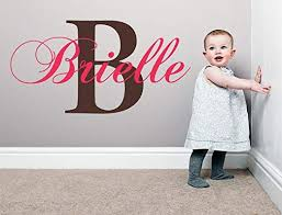 Baby Girl Initial Personalized Custom Name Vinyl Wall Decal 20 W By 12 H Girl Name Wall Decals Wall Decal Name Wall Decal Nursery Name Decal Girls Names Plus Free White Hello