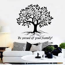 Vinyl Large Tree Quote Wall Decals Be Proud Of Your Family Tree Of Life Stickers For Livingroom Wall Decor Wallpapers Hot Lc1009 Wall Stickers Aliexpress
