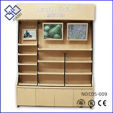 display shelf for makeup wooden counter