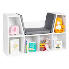 Best Choice Products Multi Purpose 6 Cubby Kids Bedroom Storage Organizer Bookcase W Cushioned Reading Nook White Walmart Com Walmart Com
