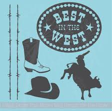 Cowboy Bull Riding Set Wall Decal Stickers Western Bedroom Decor