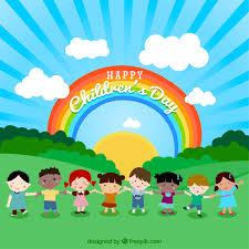 تصميم مجموعة اطفال في حديقة وخلفهم قوس قزح ملف مفتوح