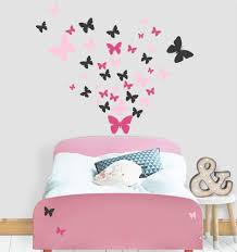 Amazon Com Butterfly Wall Decals Beautiful Girls Wall Stickers Wall Art Vinyl Stickers For Bedroom Peel And Stick Kids Room Decor Nursery Toddler Teen Decorations Playroom Birthday Gift Pink Hot Pink Black Arts Crafts