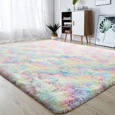 Amazon Com Junovo Soft Rainbow Area Rugs For Girls Room Fluffy Colorful Rugs Cute Floor Carpets Shaggy Playing Mat For Kids Baby Girls Bedroom Nursery Home Decor 5ft X 8ft Kitchen Dining