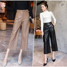 autumn faux pu leather pants women with