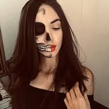 scary half sugar skull design face