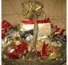 festive chocolate fondue gift basket