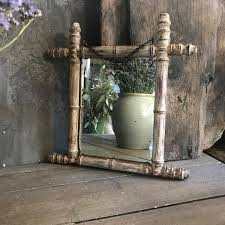 antique french bamboo framed mirror