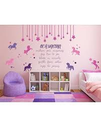 Amazing Deal On Be A Unicorn Quote Full Wall Mural Vinyl Decal For Girl S Bedroom Or Baby Nursery Decor Kids Playroom Decoration Pink Purple Black White Gold Silver Yellow Gray