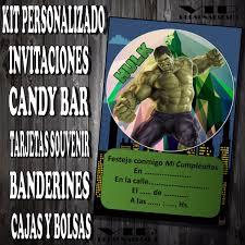 Kit Imprimible Hulk Cumpleanos Bautismos Candy Bar 280