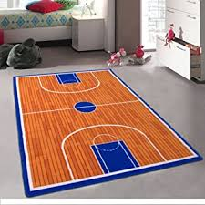 Amazon Com Pro Rugs Kids Basketball Court Sports Area Rug For Playroom Nursery Non Skid Gel Backing 3 Feet X 5 Feet Furniture Decor