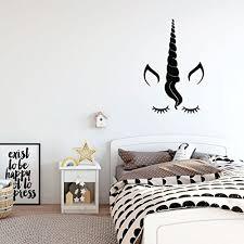 Unicorn With Eyelashes Mane Ears Horn Vinyl Wall Art