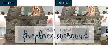 how to clean stone fireplace surround