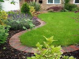 landscaping edging stones with lavender