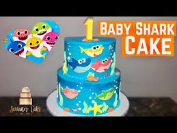 baby shark cake using edible image