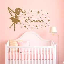Nursery Personalized Girl Name Custom Wall Decal Fairy Star Wall Sticker Removable Vinyl Kids Stickers Diy Wall Art Mural Y2 Wall Stickers Aliexpress
