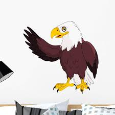 Amazon Com Wallmonkeys American Bald Eagle Presenting Wall Decal Peel And Stick Graphic Wm104087 18 In W X 17 In H Home Kitchen