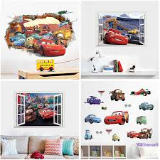 3d Window Disney Cars 3 Lightning Mcqueen Wall Stickers For Home Decor Living Room Cartoon Pvc Wall Decals Mural Art Diy Poster Wall Stickers Aliexpress