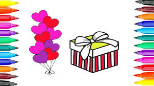 How to Draw a Birthday Gift box, Balloons for Kids