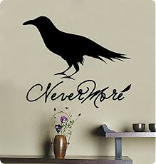Amazon Com 24 Nevermore The Raven Edgar Allen Poe Poetry Wall Decal Sticker Art Home Decor Lettering Halloween Dark Scary Home Kitchen