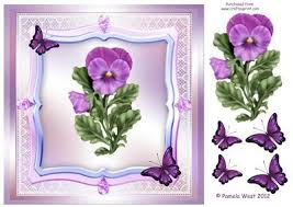 Pansies and Butterflies Decoupage Topper on Craftsuprint designed by Pamela  West Art and Designs - Pansies and Butterflies decoupage t… | Pansies,  Decoupage, Topper