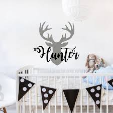 Personalized Name Wall Decal Deer Head Decor Nursery Decor Etsy