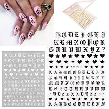 1 Sheet Letter Nail Art Sticker Decals Gold Letters Black Words Character Diy Nails Adhesive Stickers Decal 3d Nail Decoration Stickers Decals Aliexpress