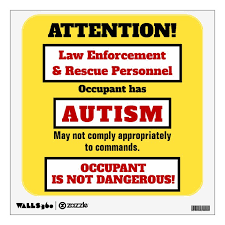 Occupant Has Autism Caution Wall Decal Zazzle Com