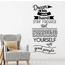 Inspirational Phrase Vinyl Wall Decal Decor Living Room Dream Big Work Hard Home Idea Wall Stickers For School Classroom W404 Wall Stickers Aliexpress