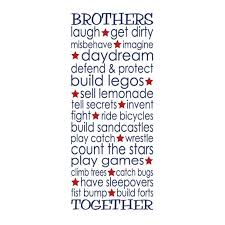 Brothers Together Vinyl Wall Decal Playroom Rules Art Boys Room Nursery Toddler Room Stars Subway Art Brothers Collage Twin Boys Ct4586