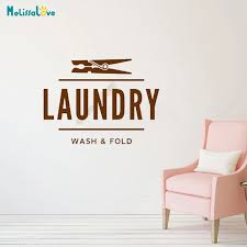 Laundry Decal Wash Fold Clothespin Peg Launderette Dry Cleaning Shop Window Sign Removable Vinyl Wall Stickers B574 Wall Stickers Aliexpress