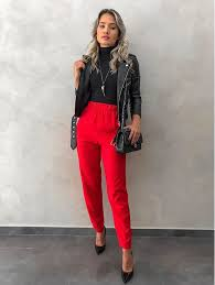 Pin by Adeline Dixon on outfit ideas in 2020   Red pants outfit, Red  trousers outfit, Red dress pants