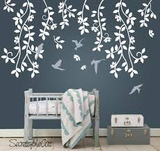 Hanging Vines With Bird Wall Decals Nursery Branch Leaves Etsy