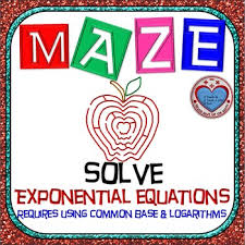 maze solve exponential equations use