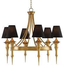 black empire shades gold frame chandelier