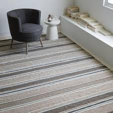 textured stripe beige and grey dhurrie rug