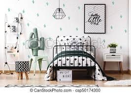 Kids Bedroom With Cute Wallpaper Pattern Stool On Wood Floor And Accessories On White Ladder In Kids Bedroom With Cute