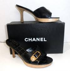 chanel black wooden leather mules