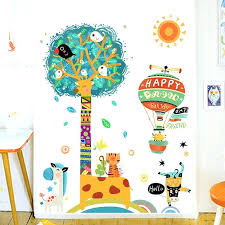Giraffe Bedroom Decor Kids Room Decoration Wall Animals Tree Stickers For Bird Sutanrajaamurang