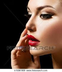 beauty woman with perfect makeup stock