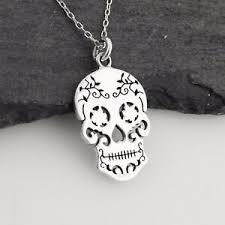 sugar skull necklace 925 sterling