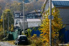 Beautiful Country House Behind A High Fence Chic Cottage In A Holiday Village Buy This Stock Photo And Explore Similar Images At Adobe Stock Adobe Stock
